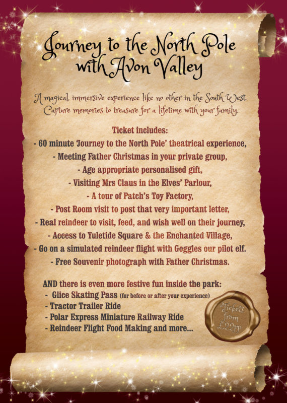 Avon Valley Christmas Experience Ticket includes